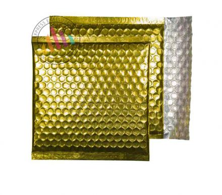 165×165mm - CD Glamour Gold Padded Bubble Envelopes - Peel and Seal