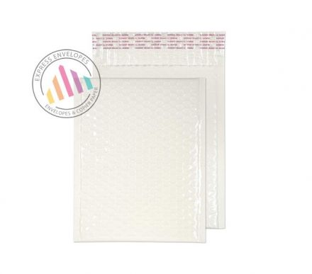 340×240mm - White Neon Gloss Padded Bubble Envelopes - Peel and Seal