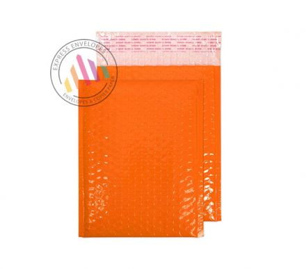 250×180mm - Orange Neon Gloss Padded Bubble Envelopes - Peel and Seal