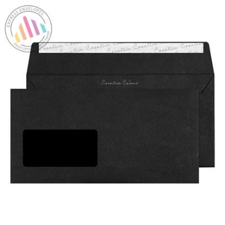 DL+ - Jet Black Envelopes - 12ogsm - Window - Peel and Seal