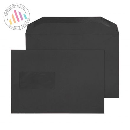 C5+ - JET BLACK MAILING ENVELOPES - 120GSM - WINDOW - GUMMED