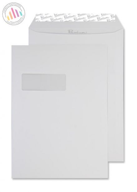 C4 - Diamond White Laid Envelopes - 120gsm - Window - Peel and Seal