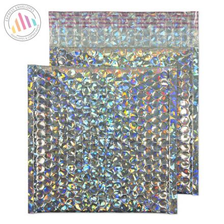 165×165mm - Holographic Padded Bubble Envelopes - Non Window - Peel and Seal