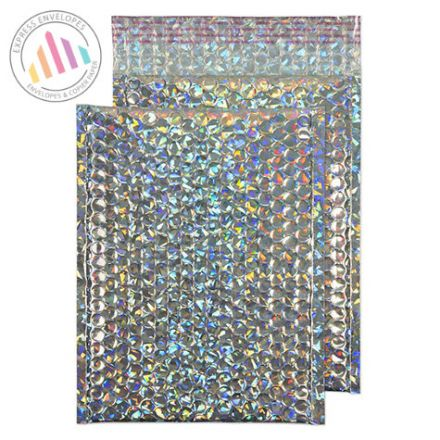 250×180mm - Holographic Padded Bubble Envelopes - Non Window - Peel and Seal