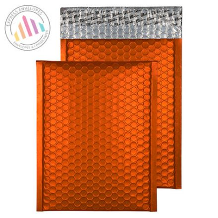 250x180mm - Pumpkin Orange Padded Bubble Envelopes - Peel and Seal
