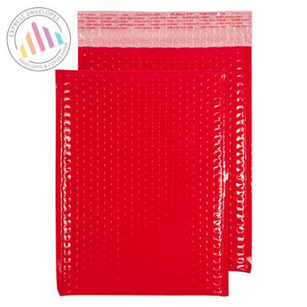340x240mm - Red Neon Gloss Padded Bubble Envelopes - Peel and Seal