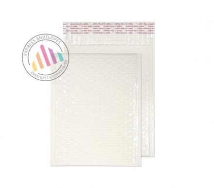 250X180MM - White Neon Gloss Padded Bubble Envelopes - Peel and Seal