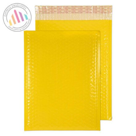 340×240mm - Yellow Neon Gloss Padded Bubble Envelopes - Peel and Seal