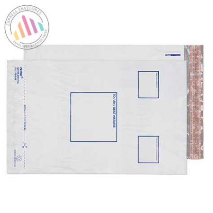 350×255mm - White Polythene Envelopes - Peel and Seal