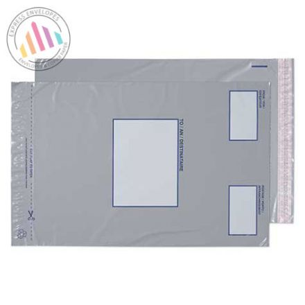 315 x 445mm - Grey Polythene Envelopes - Peel and Seal