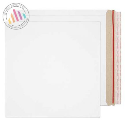 340×340mm - White All Board Envelopes - 350gsm - Rip Strip/Peel and Seal