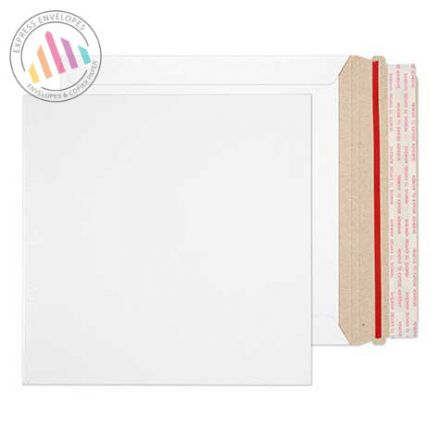 195mm×195mm - White All Board Envelopes - 350gsm - Rip Strip/ Peel & Seal