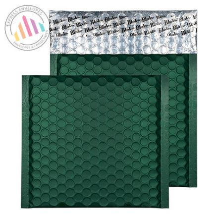 165x165mm - CD British Racing Green Bubble Padded Envelopes - Peel and Seal