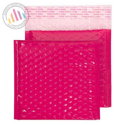 165X165mm - Pink Neon Gloss Padded Bubble Envelopes - Peel and Seal