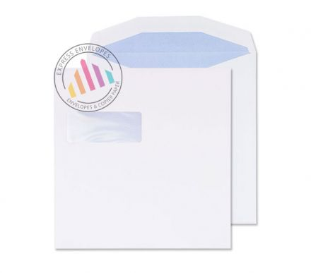 220 x 220mm - White Mailing Envelopes - 100gsm - Window - Gummed
