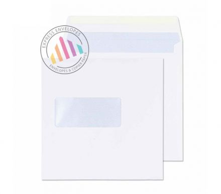155 x 155mm - White Commercial Envelopes - 100gsm - Window - Gummed