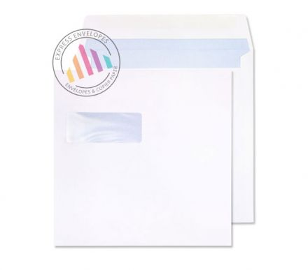 165x165mm - White Commercial Envelopes - 100gsm - Window - Gummed