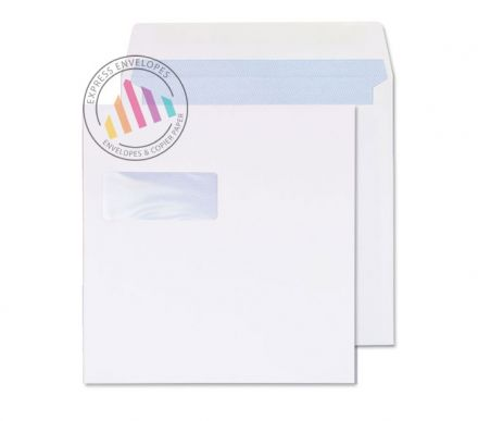 240x240mm -  White Commercial Envelopes - 100gsm - Window - Gummed