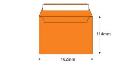 C6 - Pumpkin Orange Envelopes - 120gsm - No Window - Peel and Seal - image 2