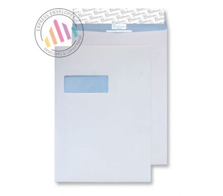 C4 - White Tear Resistant Gusset Envelopes  - 125gsm -  Window - Peel & Seal