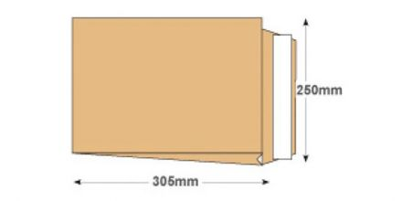 305 x 250 - Manilla Gusset Envelopes - 140gsm - Non Window - Peel & Seal - image 2