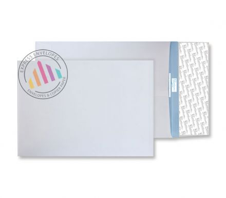 381 x 254mm - White Gusset Envelopes - 125gsm - Non Window - Peel & Seal