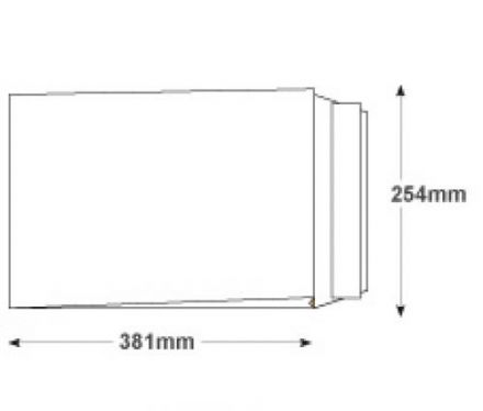 381 x 254mm x 30mm - White Gusset Envelopes - 125gsm - Non Window - Peel & Seal - image 2