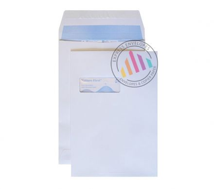 C4 - White Gusset Envelopes - 150gsm - Window - Peel and Seal