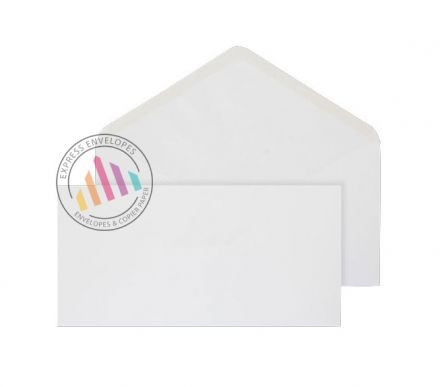 106x206mm - White Invitation Envelopes - 90gsm - Non Window - Gummed