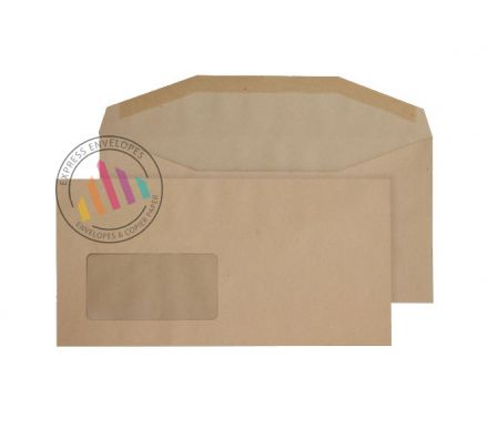 121×235mm - Manilla Mailing Envelopes - 80gsm - Window - Gummed