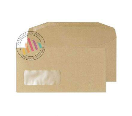 DL - Manilla Mailing Envelopes - 80gsm -  Window - Gummed