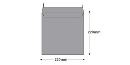 220 x 220mm - Metallic Silver Envelopes - 130gsm - Non Window - Peel & Seal - image 2