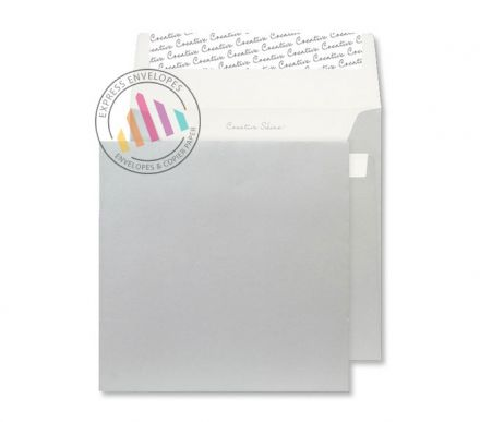 160x160mm - Metallic Silver Envelopes - 130gsm - Non Window - Peel & Seal