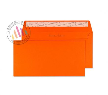 DL+ - Pumpkin Orange Envelopes - 120gsm - Non Window - Peel and Seal