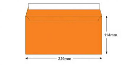 DL+ - Pumpkin Orange Envelopes - 120gsm - Non Window - Peel and Seal - image 2