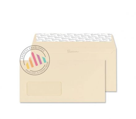 DL - Cream Wove Envelopes - 120gsm - Window - Peel & Seal