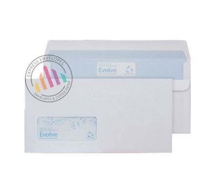 Recycled DL -  White Commercial Envelopes - 90gsm -  Window - Self Seal