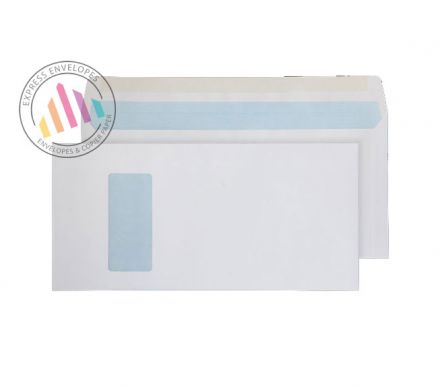 152 x 315 - White Mailing Envelopes - 100gsm - Window - Gummed