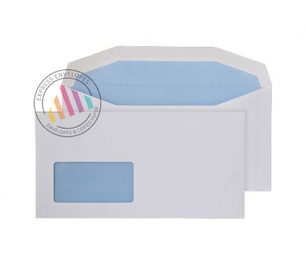 121×235mm - White Mailing Envelopes - 90gsm - Window - Gummed