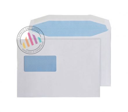 C5+ - White Mailing Envelopes - 90gsm - High Window - Gummed