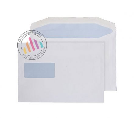 178 x 254 - White Mailing Envelopes - 90gsm - Window - Gummed