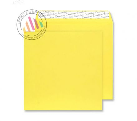 220×220mm - Banana Yellow Envelopes - 120gsm - Non Window - Peel and Seal