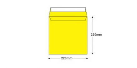 220×220mm - Banana Yellow Envelopes - 120gsm - Non Window - Peel and Seal - image 2