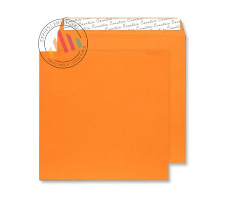 220x220mm - Pumpkin Orange Envelopes - 120gsm - Non Window - Peel and Seal