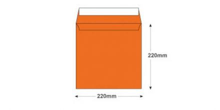 220x220mm - Pumpkin Orange Envelopes - 120gsm - Non Window - Peel and Seal - image 2