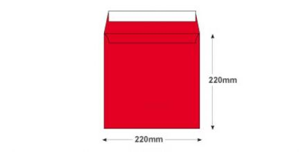 220×220mm - Pillar Box Red Envelopes - 120gsm - Non Window - Peel and Seal - image 2