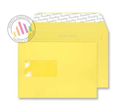C5 - Banana Yellow Envelopes - 120gsm - Window - Peel and Seal