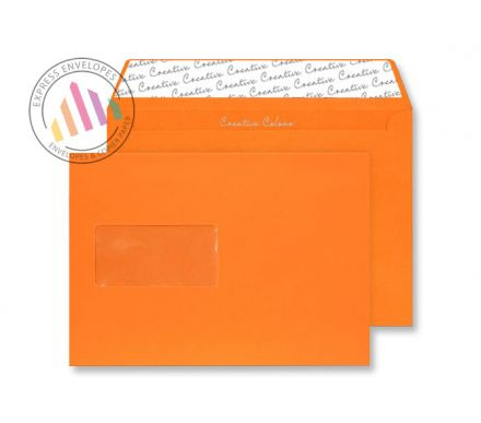 C5 - Pumpkin Orange Envelopes - 120gsm - Window - Peel and Seal