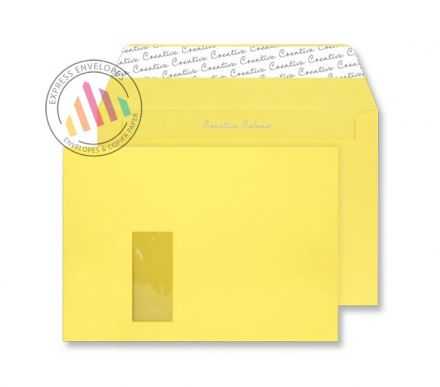 C4 - Banana Yellow Envelopes - 120gsm - Window - Peel and Seal