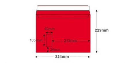 C4 - Pillar Box Red Envelopes - 120gsm - Window - Peel and Seal - image 2
